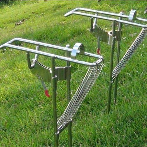 Spring Fishing Rod Holder - Automatically Pulls Back When Fish Detected