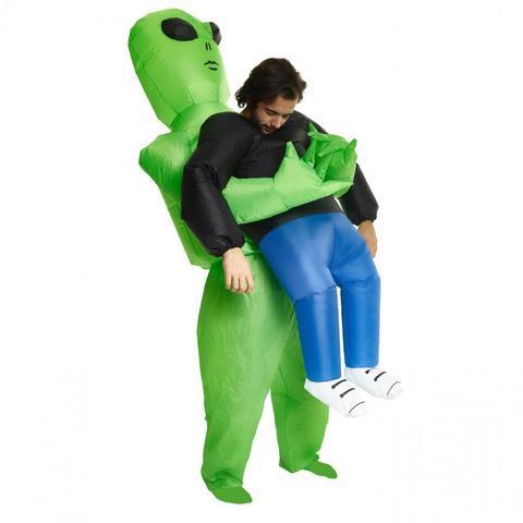 Green Alien Carrying Human Costume
