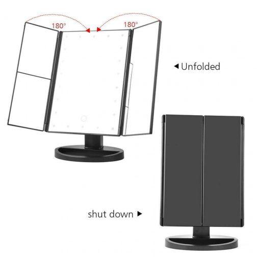 Touchscreen 3-Panel LED Makeup Mirror