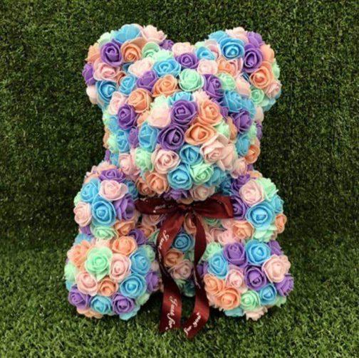 Multi-Colored Rose Bear