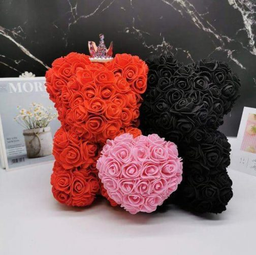 King & Queen Couple Rose Bear
