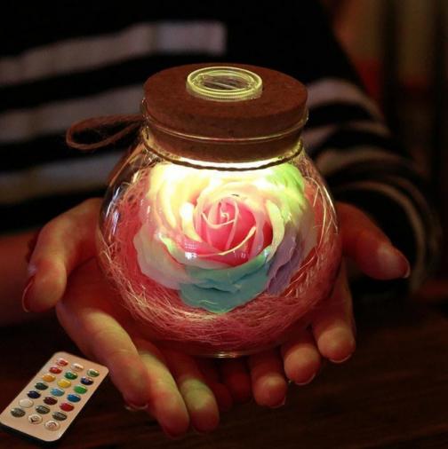 LED Rose Bottle Lamp