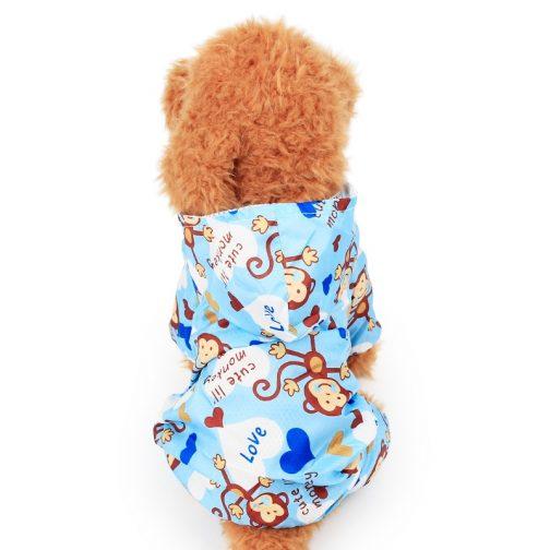 Monkey Printed Small Dog Raincoat