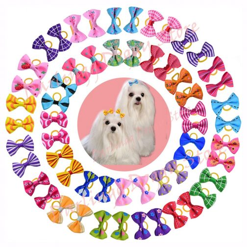 Pet Hair Bows with Rubber Bands