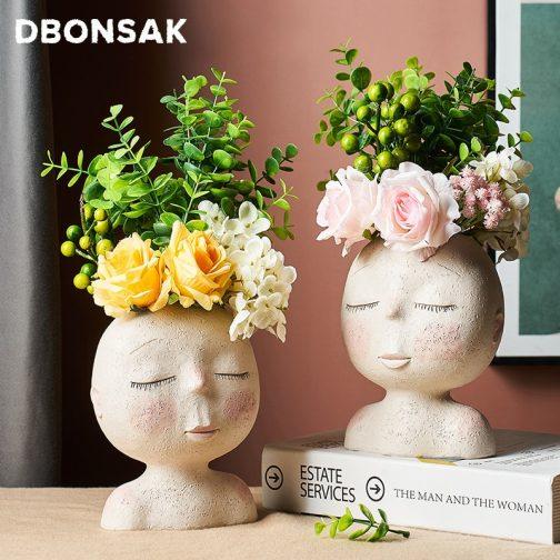 Nordic Human Head Vase Flower Pot