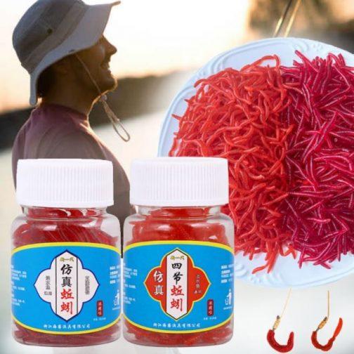 100pcs Lifelike Red Earthworm Bait