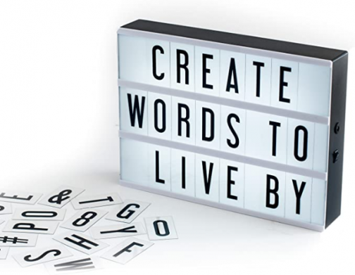 My Cinema Lightbox - The Original LED Marquee Lightbox, Includes 100 Letters & Numbers to Create Changeable Signs, Battery or USB, A4 Black, Includes Letter Storage and USB
