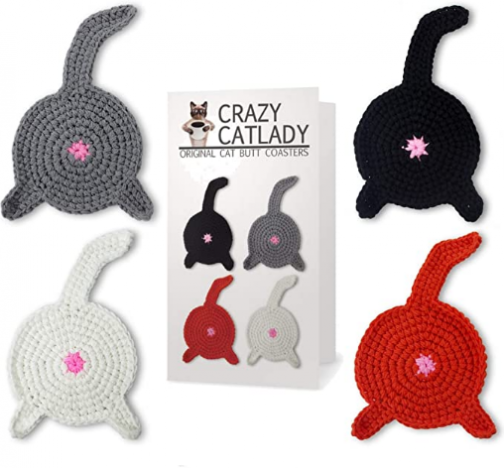 Crazy Cat Lady CAT Butt Crochet Drink Coaster Set Funny Cat Gifts for Cat Lover Gifts
