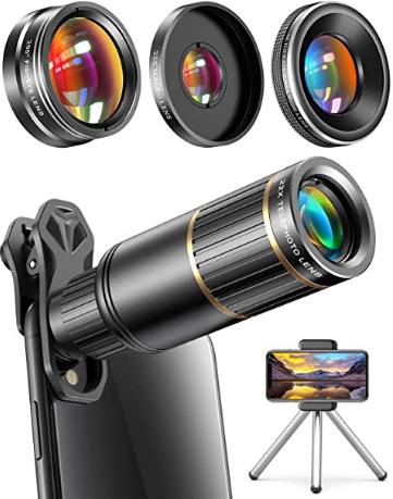 CoPedvic Phone Camera Lens Phone Lens for iPhone Samsung Pixel One Plus Huawei, 22X Telephoto Lens, 4K HD 0.67X Super Wide Angle Lens&25X Macro Lens(Screwed Together), 205° Fisheye Lens, Metal Tripod