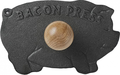 Norpro Cast Iron Pig Shaped Bacon Press with Wood Handle, 8.5in/21.5cm