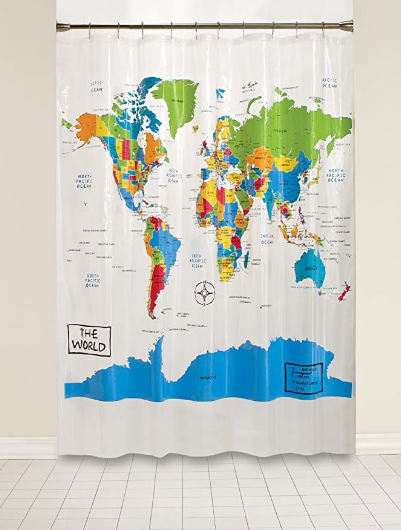 SKL Home by Saturday Knight Ltd. The World Shower Curtain, Multi