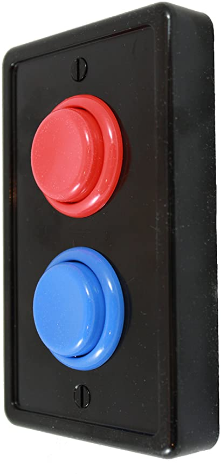 Arcade Light Switch Plate Cover, Single Switch (Black/Red/Blue), 1-Gang Standard Size Rocker Wall Plate, Game Room Decorator, Kid Bedroom Wallplate, Faceplate Replacement