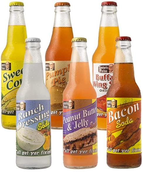 Lester's Fixins Outrageous Wild Crazy Unique Flavor Soda Pop 6 Pack Sampler Set