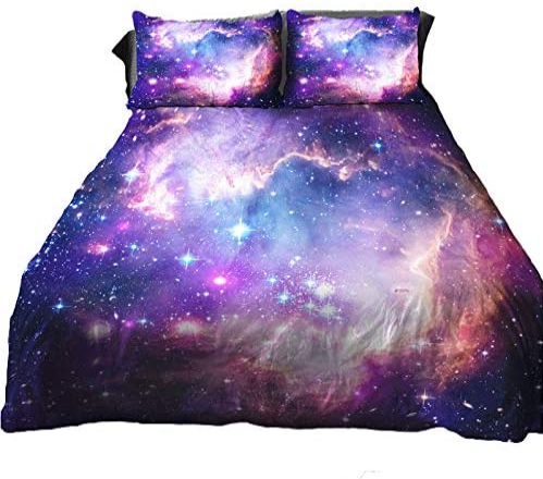 Anlye Galaxy Quilt Cover Galaxy Duvet Cover Outer Space Bedding Set with 2 Matching Pillow Covers (Twin 3PCS)