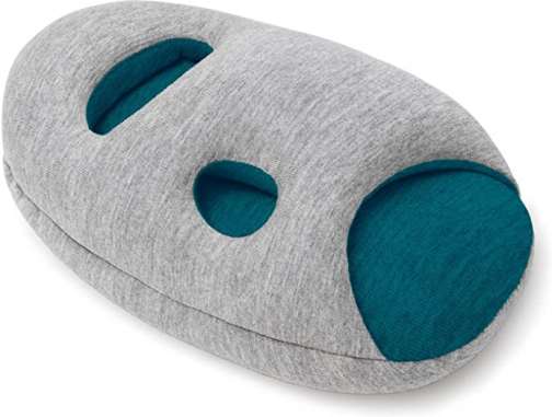 OSTRICH PILLOW Mini Travel Pillow for Airplane Head Support - Travel Accessories for Hand and Arm Rest, Power Nap on Flight and Desk - Blue Reef