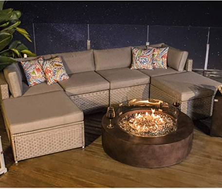 COSIEST 8-Piece Propane Firepit Table Outdoor Furniture Sofa, Warm Gray Wicker Sectional w 42-inch Round Bronze Gas Fire Table (50,000 BTU), Wind Guard and Tank Outside(20 Gallon) for Garden,Pool