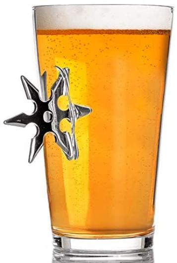 Stuck in Glass BEER PINT GLASSES | THROWING STAR | Original Embedded 16oz Borosilicate Drinking Glassware (NINJA)