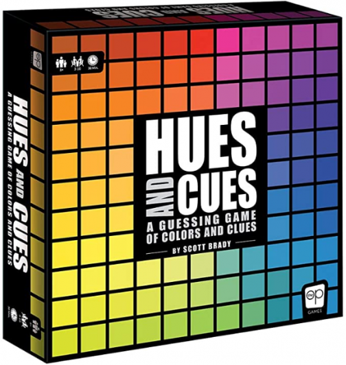 USAOPOLY HUES and CUES/Vibrant Color Guessing Game Perfect for Family Game Night/Connect Clues and Colors Together/480 Color Squares to Guess