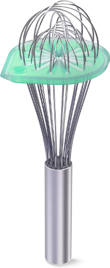 """Whisk Wiper - Wipe a Whisk Easily - Multipurpose Kitchen Tool, Made In USA - Includes 11"""" Stainless-Steel Whisk - Cool Baking Gadget, A Great Gift For Men and Women (Color: Aquamarine)"""