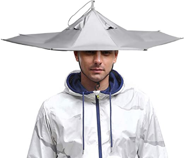 """Umbrella Hat, Sun Rain Cap Colorful Folding Umbrellas Headwear 23"""" Beach, Party, Outdoor, Fishing, Hunting and Gardening, UV Protection for Adults and Kids"""