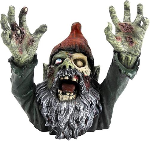 Design Toscano CL6565 Zombie Gnombie Graveyard Garden Gnome Statue, 11 Inch, Full Color