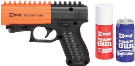 Mace Brand Self Defense Pepper Spray Gun 2.0 – Accurate 20' Powerful Pepper Spray, Leaves UV Dye on Skin, Integrated LED Light Enhances Aim, Great Self-Defense – Replaceable Cartridge (80406), Black