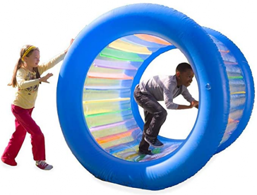 """HearthSong Roll With It! Giant Inflatable Colorful Rolling Wheel for Active Outdoor Play, 45"""" Diam., Holds up to 200 Lbs."""