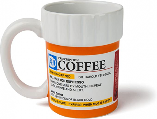 BigMouth Inc. The Prescription Coffee Mug – Hilarious 12 oz Ceramic Coffee Cup in the Shape of a Pill Bottle – Perfect for Home or Office, Makes a Great Gift