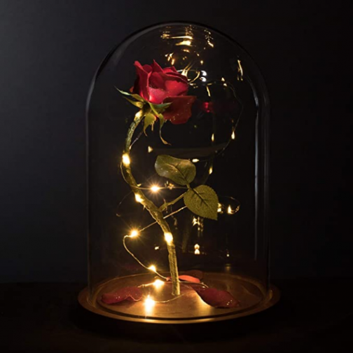 "MagicPrincessWhitney Made in USA Enchanted Red Rose Life-Sized 13"" LED Beauty and The Beast Rose in Glass Dome Belle Wedding Valentine's Day Christmas Mother's Quinceanera Magic Princess Whitney"