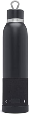 Aquio IBTB2BB Double-wall Steel Insulated Hydration Bottle with Rechargeable Bluetooth Wireless Speaker, Powered by iHome, Midnight