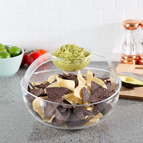 Chip and Dip Bowl-Serving Set for Indoor Outdoor Cocktail Parties and Entertaining-Serveware for Chips, Salsa, Fruit, Dips and More by Classic Cuisine