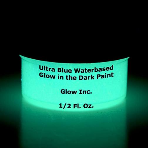 Ultra Blue Water Based Glow in The Dark Paint by Glow Inc. 1/2 Fluid oz