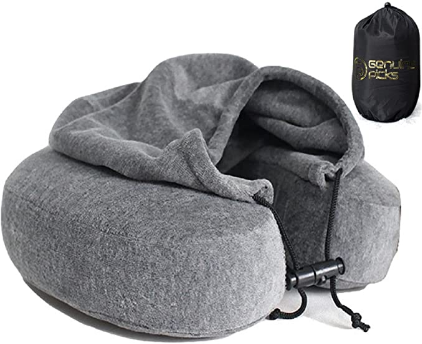Luxury Memory Foam Neck Travel Pillow with Hoodie. Stylish Carry Bag. Premium Velvet. Washable Zippered Cover. Scientifically Proven U Shaped Neck Pillow. Business Traveler Gifts. (Gray)