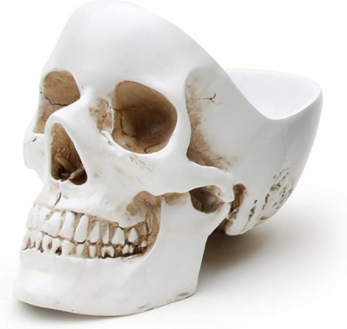 Suck UK Skull Tidy, Jewellry Box Accessories Container in White-Perfect for Storing Keys, Jewellery, Stationary, Spare Coins or Cosmetics