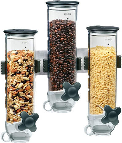 Zevro Indispensable SmartSpace Wall Mount Triple Dry-Food Dispenser