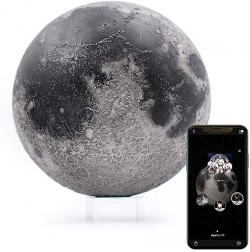 "AstroReality: LUNAR Pro Smart Moon Globe, Augmented Reality App, 3D Printed and Hand Painted Planet Model, NASA Sourced Extreme Precision Topography, 4.72"", Stunning Decor Piece for Home, Space Gift"