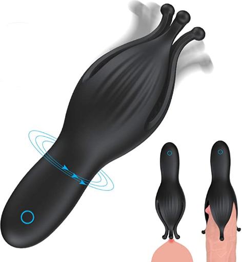 Male Vibrator 10 - Vibration Modes Male Masturbator Glans Massager G-Spot Adult Sex Toys Penis Head Vibrators and Charging Testis Clitoris Nipple Stimulator for Couple(Black)