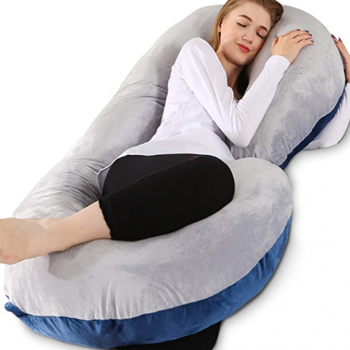 Pregnancy Pillow, 55 inches Full Body Pillow Maternity Pillow for Pregnant Women, Comfort C Shaped Zootzi Pillow with Removable Washable Velvet Cover(Grey and Navy Blue, 55 x 28 inches)