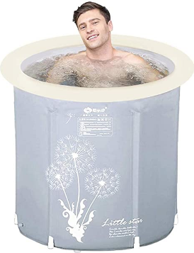 Hyun times Portable Foldable Bathtub, Plastic Free Standing Bathing Tub - Ideal for Small Shower Stall, Bathroom Spa, Easy to Install (Size : 29.6 inch)
