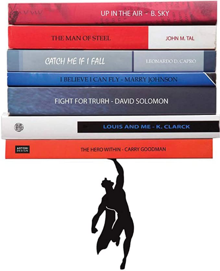 Floating Shelves - Black Metal Superhero Bookshelf - Unique Invisible Book Stack - Hidden Mount Shelf - Comic Book Stand - Living Room Wall Decor - Wall Mount Book Shelf - Supershelf by Artori Design
