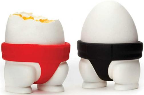 PELEG DESIGN Sumo Eggs, Egg Cup Set, Egg Cups for Soft Boiled Eggs or Hard Boiled Eggs, Sumo Design Egg Cup Holders, Utensil Kitchen Décor, Set of 2