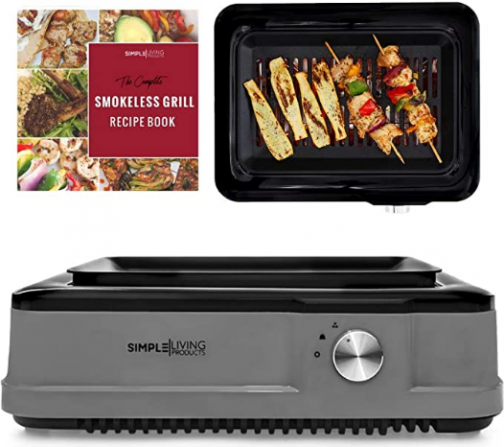 Simple Living THE REAL Infrared Electric Smokeless Grill, XL Capacity with Non Stick Grilling Surface, Consistent 450°F Grilling Temperature, BBQ Char Grilled Results Indoors with Virtually NO SMOKE.