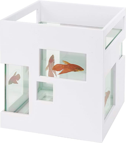 Umbra 460410-660 FishHotel Unique Glass 2 Gallons Mini Aquarium Tank Bowl for Goldfish Betta Glofish and Small Fish perfect as Home Business Birthday Gift Ideas, White