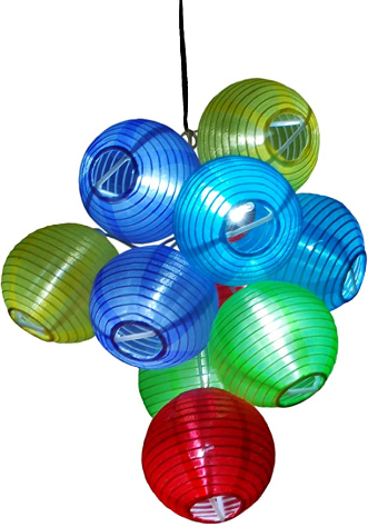 "Solar Powered Party String Fairy Lights. 10 of 3"" Dia Color Lanterns."