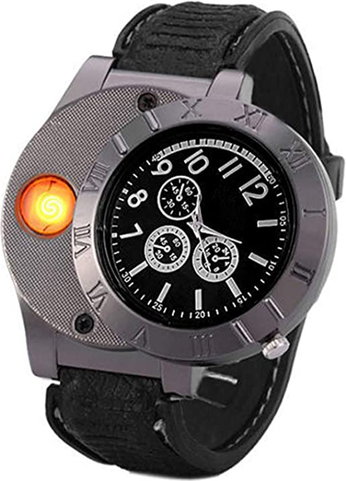 Findtime Men USB Rechargeable Cigarette Cigar Lighter Watch Novelty Cool Lighters Windproof Flameless Unique Designer Wristwatches