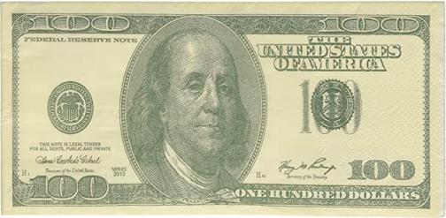 100 Dollar Bill Printed Napkins Tissues, 10 ct.