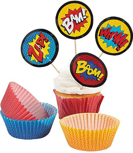 Fun Express - Superhero Baking Cups W/picks - Party Supplies - Serveware & Barware - Misc Serveware & Barware - 100 Pieces