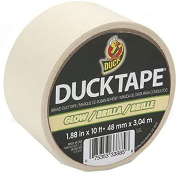 "Duck Brand 281261 Glow in the Dark Duck Tape, 10' Length x 1-7/8"" Width"