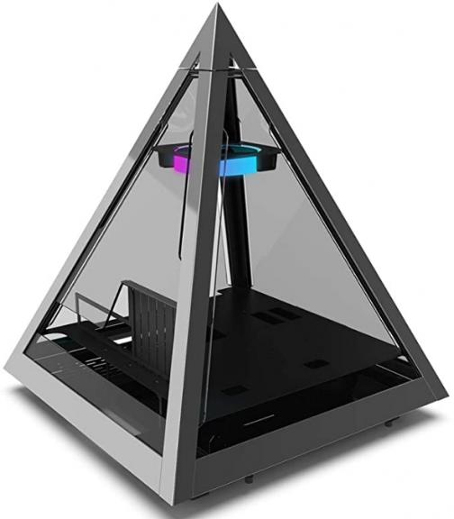 Azza CSAZ-804V Pyramid Innovative PC Case W/RGB Fan, Black
