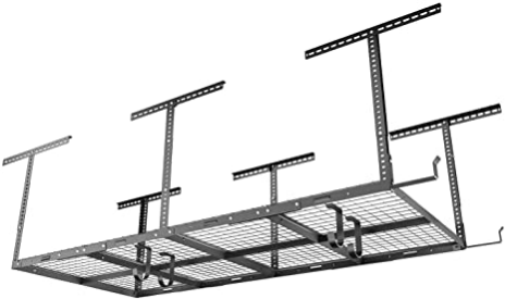 "FLEXIMOUNTS 4x8 Overhead Garage Storage Rack with Hooks Adjustable Ceiling Storage Rack, 96"" Length x 48"" Width x 40"" Height, 22''-40"" Ceiling Dropdown, Black"